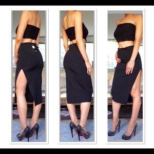 Boohoo High Slit Ribbed Midi Skirt